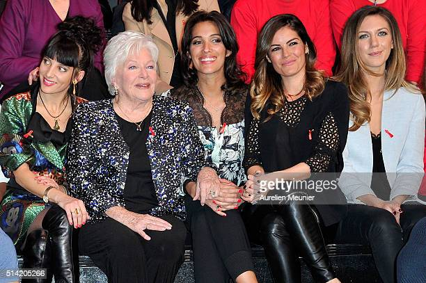 Erika Moulet Line Renaud and Laurie Cholewa attend the Sidaction 2016 Launch party at Musee du Quai Branly on March 7 2016 in Paris France