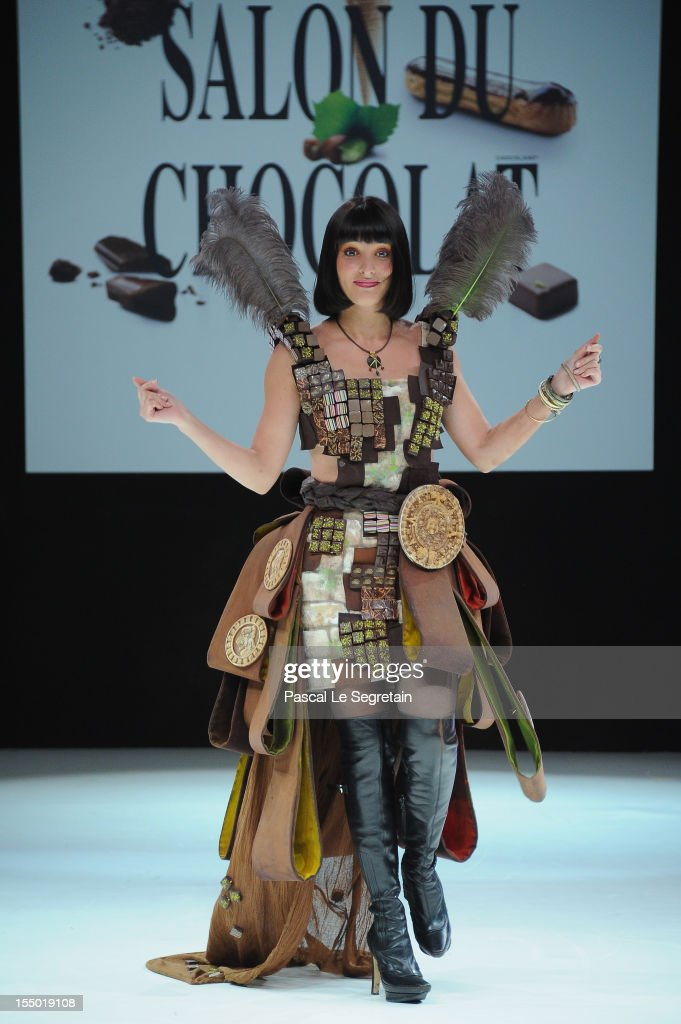 Erika Moulet walks down the runway during the 18th Salon Du Chocolat at Parc des Expositions Porte de Versailles on October 30, 2012 in Paris, France.