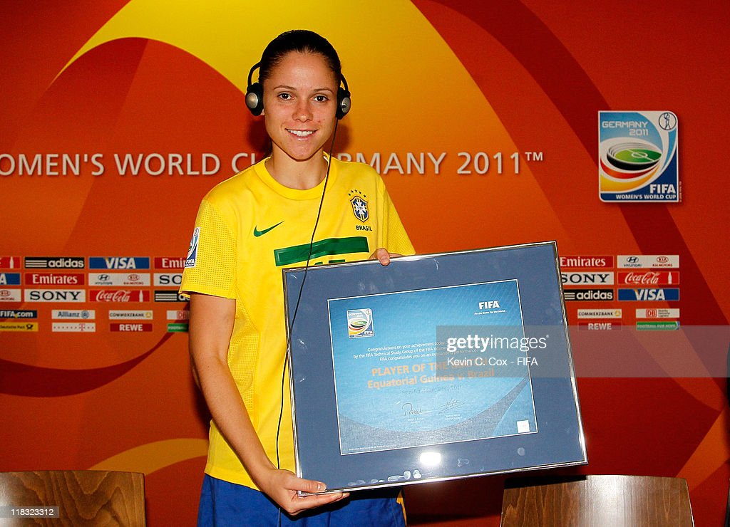 Erika of Brazil receives the player of the match award after their 21 win over Equatorial Guinea in the the FIFA Women's World Cup 2011 Group D match...