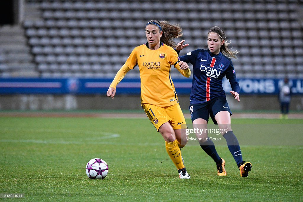 Erika of PSG and Alexia Putellas of Barcelona during Uefa Women's Champions League match between Paris Saint Germain and Fc Barcelona round of 8...