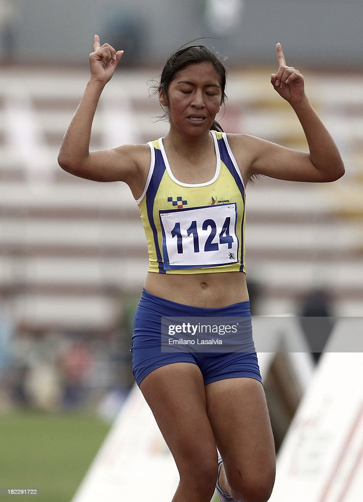 Erika Pilicita of Ecuador competes during Women's 2000 mts Steeplechase event as part of the I ODESUR South American Youth Games at Estadio Miguel Grau on September 29, 2013 in Lima, Peru.