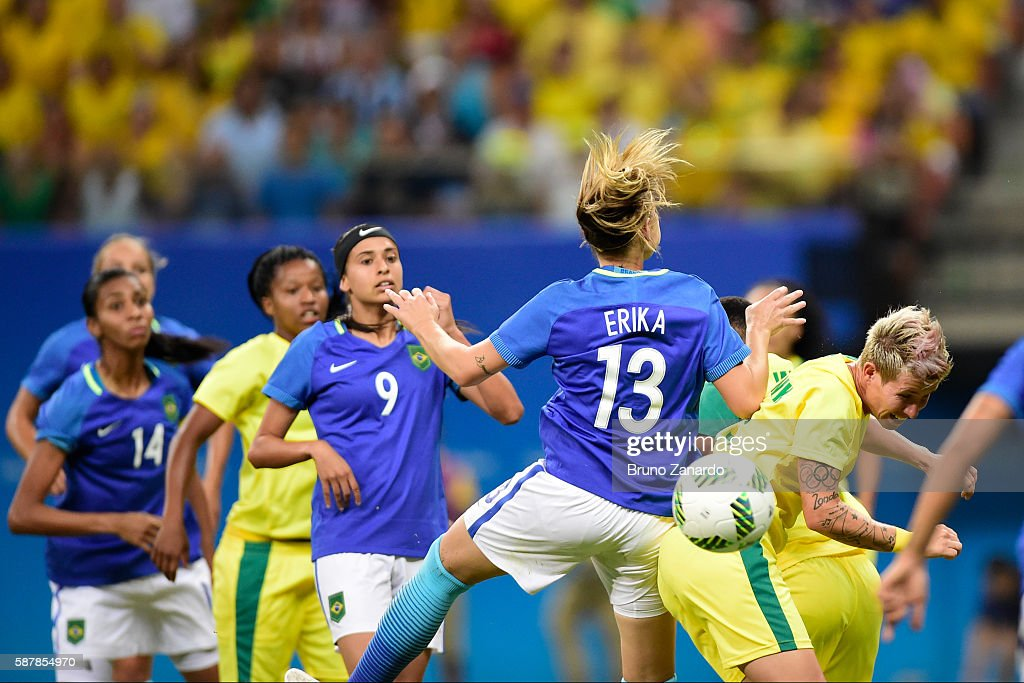 Erika player of Brazil competes for the ball with Janine van Wyk player of South Africa during 2016 Summer Olympics match between Brazil and South...