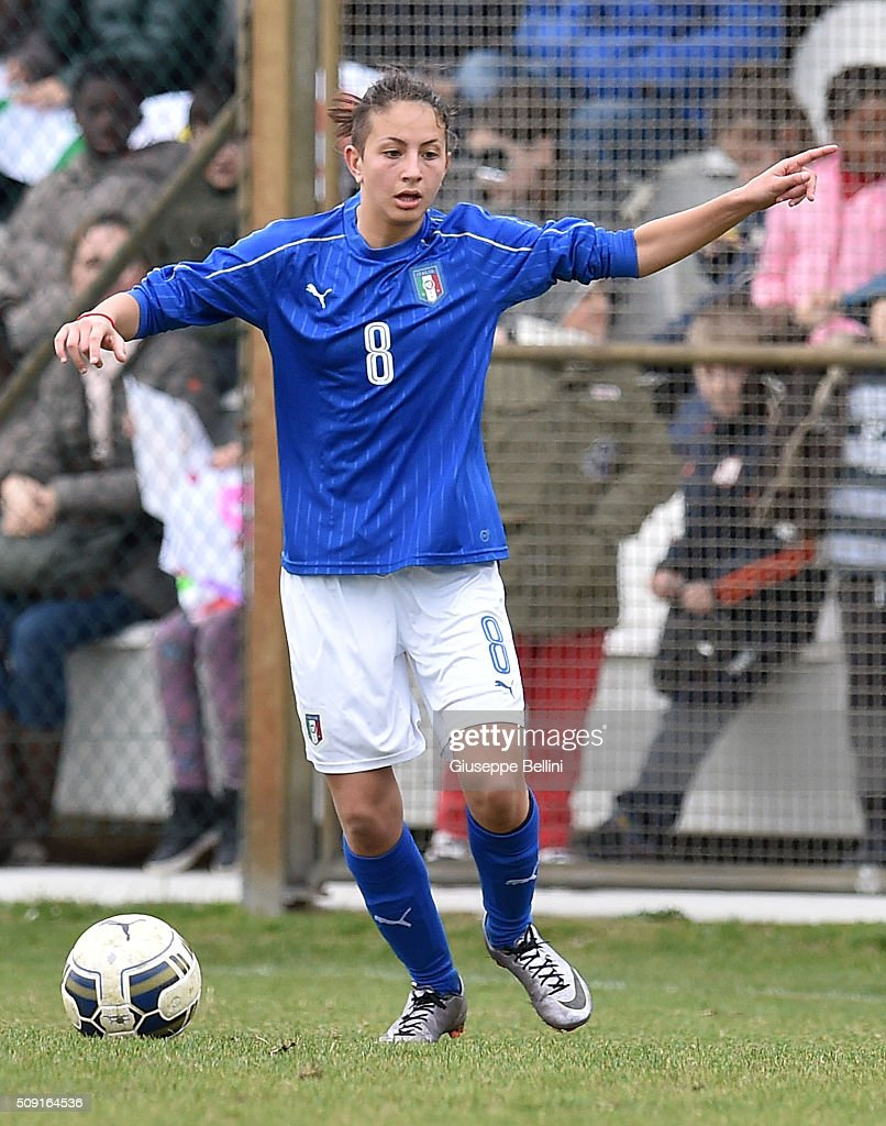 Erika Santoro of Italy in action during the Women's U17 international friendly match between Italy and Norway on February 9, 2016 in Cervia, Italy.