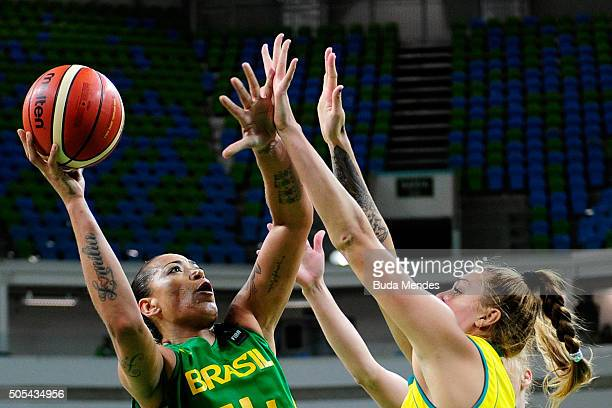 Erika Souza of Brazil drives the ball against Cayla Marie Francis of Australia during International Womens Basketball Tournament Aquece Rio Test...