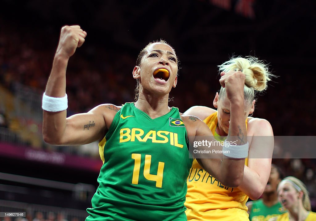 Erika Souza #14 of Brazil reacts after drawing a foul against <a gi-track='captionPersonalityLinkClicked' href=/galleries/search?phrase=Lauren+Jackson&family=editorial&specificpeople=201699 ng-click='$event.stopPropagation()'>Lauren Jackson</a> #15 of Australia during the Women's Basketball Preliminary Round match on Day 5 of the London 2012 Olympic Games at Basketball Arena on August 1, 2012 in London, England.