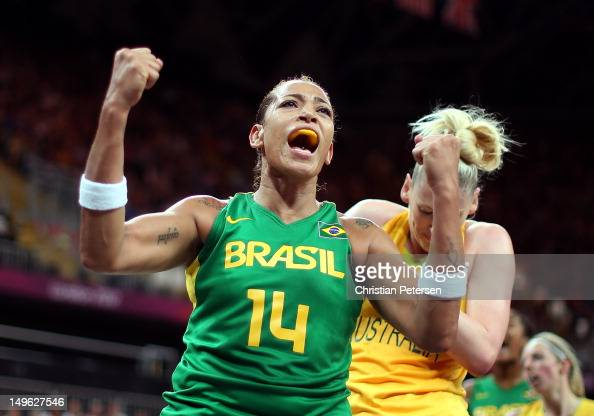 Erika Souza of Brazil reacts after drawing a foul against Lauren Jackson of Australia during the Women's Basketball Preliminary Round match on Day 5...