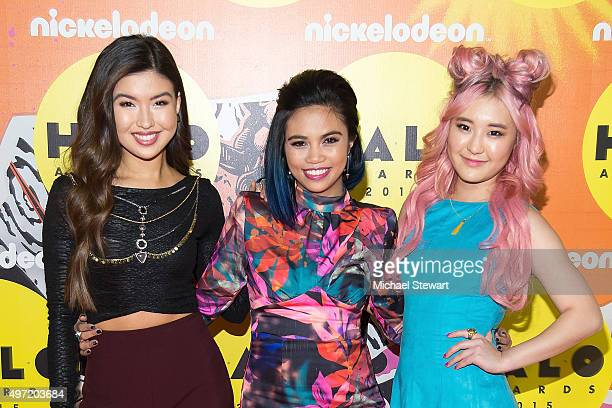 Erika Tham Louriza Tronco and Megan Lee attend the 2015 Halo Awards at Pier 36 on November 14 2015 in New York City