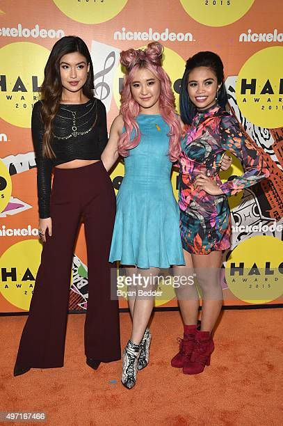 Erika Tham Megan Leeand Louriza Tronco attend the 2015 Nickelodeon HALO Awards at Pier 36 on November 14 2015 in New York City