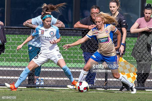 Erika Tymrak of Melbourne City Women and Gema Simon of the Newcastle Jets Women contest the ball during the 1st round of the Westfield WLeague...