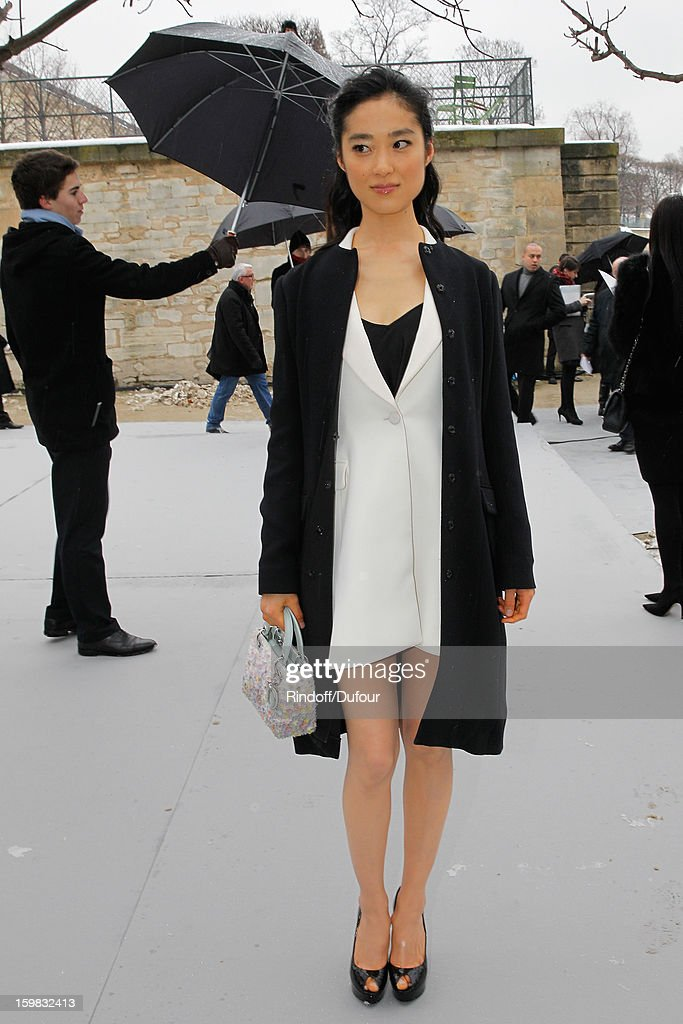 Eriko Hastune arrives to attend the Christian Dior Spring/Summer 2013 Haute-Couture show as part of Paris Fashion Week at on January 21, 2013 in Paris, France.