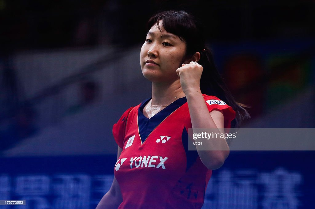 <a gi-track='captionPersonalityLinkClicked' href=/galleries/search?phrase=Eriko+Hirose&family=editorial&specificpeople=654988 ng-click='$event.stopPropagation()'>Eriko Hirose</a> of Japan celebrates a point during the women's single match against Wang Shixian of China on day four of the 2013 BWF World Championships at Tianhe Sports Center on August 8, 2013 in Guangzhou, China.