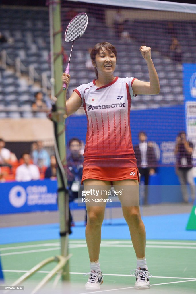 <a gi-track='captionPersonalityLinkClicked' href=/galleries/search?phrase=Eriko+Hirose&family=editorial&specificpeople=654988 ng-click='$event.stopPropagation()'>Eriko Hirose</a> of Japan cereblates after the women's singles match against Yeon Ju Bae of South Korea in the women's singles against yeon Ju Dae during day three of the Yonex Open Japan 2012 at Yoyogi Gymnasium on September 21, 2012 in Tokyo, Japan.