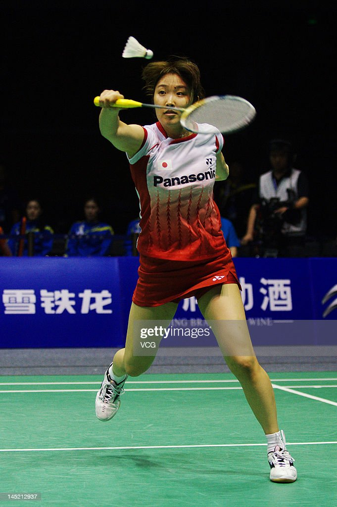 <a gi-track='captionPersonalityLinkClicked' href=/galleries/search?phrase=Eriko+Hirose&family=editorial&specificpeople=654988 ng-click='$event.stopPropagation()'>Eriko Hirose</a> of Japan competes against Youn Joo Bae of South Korea in the semi-final match during the Ube Cup world badminton team championships at Wuhan Sports Gymnasium Center on May 24, 2012 in Wuhan, China.