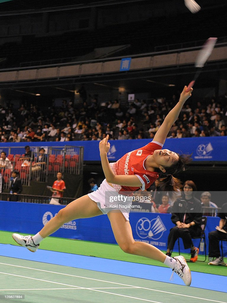 <a gi-track='captionPersonalityLinkClicked' href=/galleries/search?phrase=Eriko+Hirose&family=editorial&specificpeople=654988 ng-click='$event.stopPropagation()'>Eriko Hirose</a> of Japan competes in the Women's Singles first round match against Ji Hyun Sung of Korea during the day one of the Yonex Open Japan 2011 at Tokyo Metropolitan Gymnasium on September 21, 2011 in Tokyo, Japan.