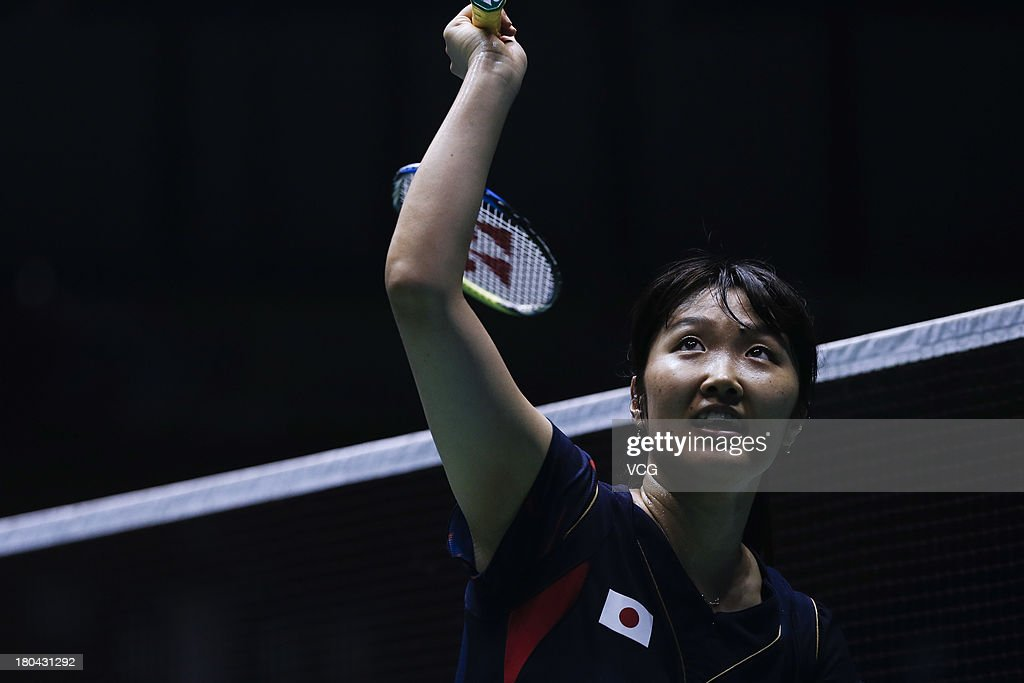 <a gi-track='captionPersonalityLinkClicked' href=/galleries/search?phrase=Eriko+Hirose&family=editorial&specificpeople=654988 ng-click='$event.stopPropagation()'>Eriko Hirose</a> of Japan competes in the women's singles match against Suo Di of China on day 3 of the 2013 China Badminton Masters at Changzhou Olympic Sports Center on September 12, 2013 in Changzhou, China.
