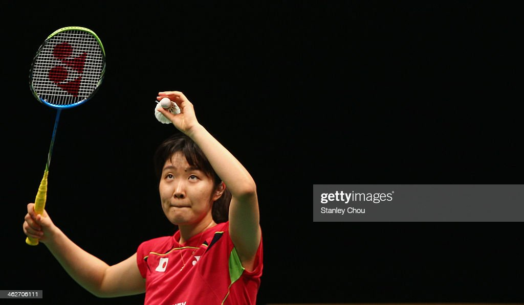 <a gi-track='captionPersonalityLinkClicked' href=/galleries/search?phrase=Eriko+Hirose&family=editorial&specificpeople=654988 ng-click='$event.stopPropagation()'>Eriko Hirose</a> of Japan in action against Chan Tsz Ka of Hong Kong during day two of the Women's Singles of the Malaysia Badminton Open at the Putra Indoor Stadium on January 15, 2014 in Kuala Lumpur, Malaysia.