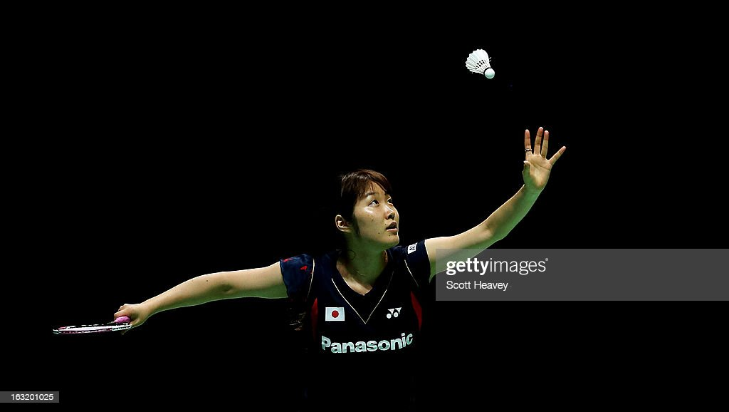 <a gi-track='captionPersonalityLinkClicked' href=/galleries/search?phrase=Eriko+Hirose&family=editorial&specificpeople=654988 ng-click='$event.stopPropagation()'>Eriko Hirose</a> of Japan in action during Day Two of the Yonex All England Badminton Open at NIA Arena on March 6, 2013 in Birmingham, England.
