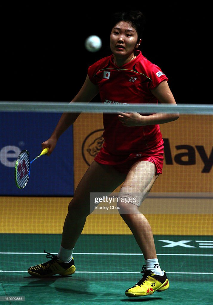 <a gi-track='captionPersonalityLinkClicked' href=/galleries/search?phrase=Eriko+Hirose&family=editorial&specificpeople=654988 ng-click='$event.stopPropagation()'>Eriko Hirose</a> of Japan plays a shot to Li Xuerul of China during day three of the Women's Singles of the Malaysia Badminton Open on January 16, 2014 in Kuala Lumpur, Malaysia.