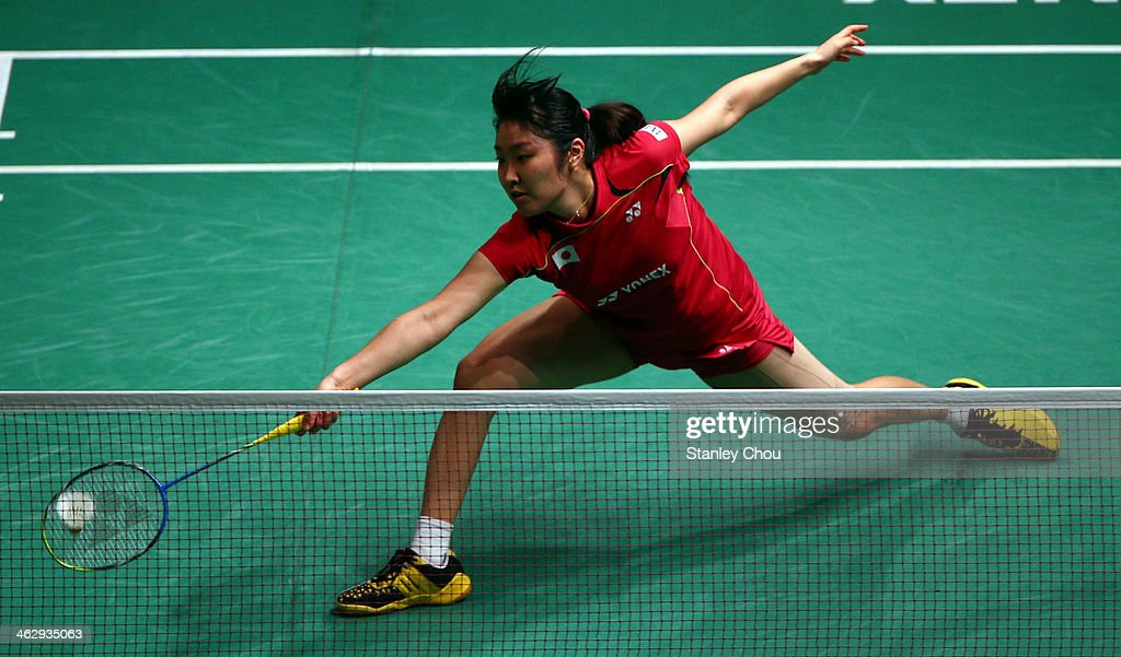 <a gi-track='captionPersonalityLinkClicked' href=/galleries/search?phrase=Eriko+Hirose&family=editorial&specificpeople=654988 ng-click='$event.stopPropagation()'>Eriko Hirose</a> of Japan plays to Li Xuerul of China during day three of the Women's Singles of the Malaysia Badminton Open on January 16, 2014 in Kuala Lumpur, Malaysia.