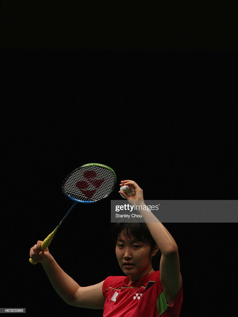 <a gi-track='captionPersonalityLinkClicked' href=/galleries/search?phrase=Eriko+Hirose&family=editorial&specificpeople=654988 ng-click='$event.stopPropagation()'>Eriko Hirose</a> of Japan prepares to serve to Li Xuerul of China during day three of the Women's Singles of the Malaysia Badminton Open on January 16, 2014 in Kuala Lumpur, Malaysia.