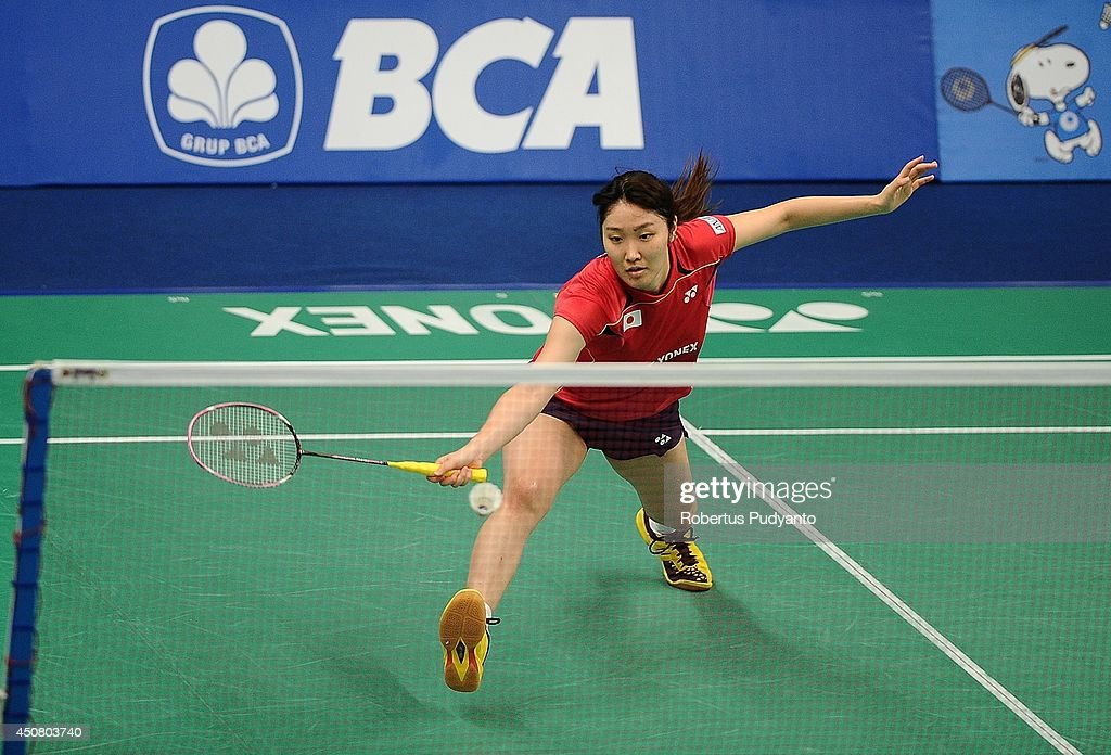 <a gi-track='captionPersonalityLinkClicked' href=/galleries/search?phrase=Eriko+Hirose&family=editorial&specificpeople=654988 ng-click='$event.stopPropagation()'>Eriko Hirose</a> of Japan returns a shot against Bae Yeon Ju of Korea during the BCA Indonesia Open 2014 MetLife BWF World Super Series Premier at Istora Gelora Bung Karno Stadium on June 18, 2014 in Jakarta, Indonesia.