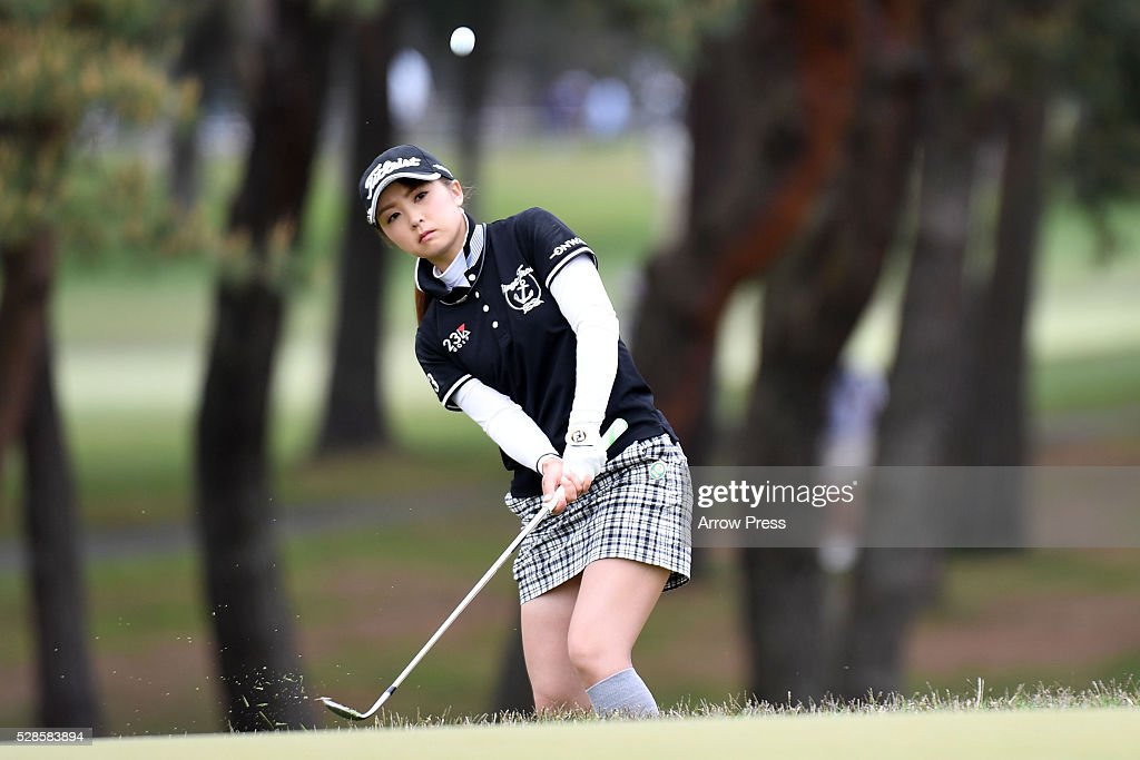 Eriko Kikuchi of Japan hits her chips onto the 10th green during the second round of the World Ladies Championship Salonpas Cup at the Ibaraki Golf Club on May 6, 2016 in Tsukubamirai, Japan.