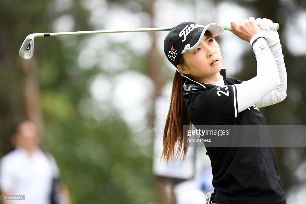 Eriko Kikuchi of Japan hits her tee shot on the 12th hole during the second round of the World Ladies Championship Salonpas Cup at the Ibaraki Golf Club on May 6, 2016 in Tsukubamirai, Japan.
