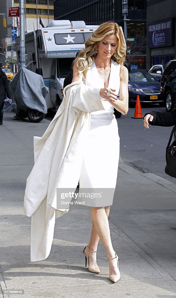 Erin Andrews arrives for the 'Late Show with David Letterman' at Ed Sullivan Theater on March 10, 2014 in New York City.