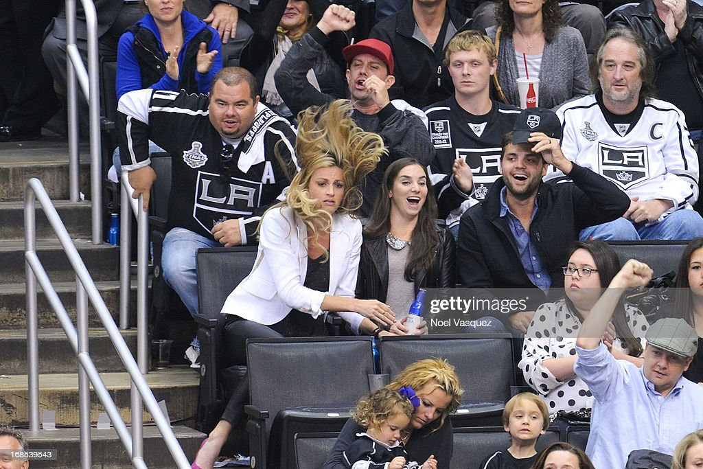Erin Andrews attends a NHL playoff game between the St. Louis Blues and the Los Angeles Kings at Staples Center on May 10, 2013 in Los Angeles, California.