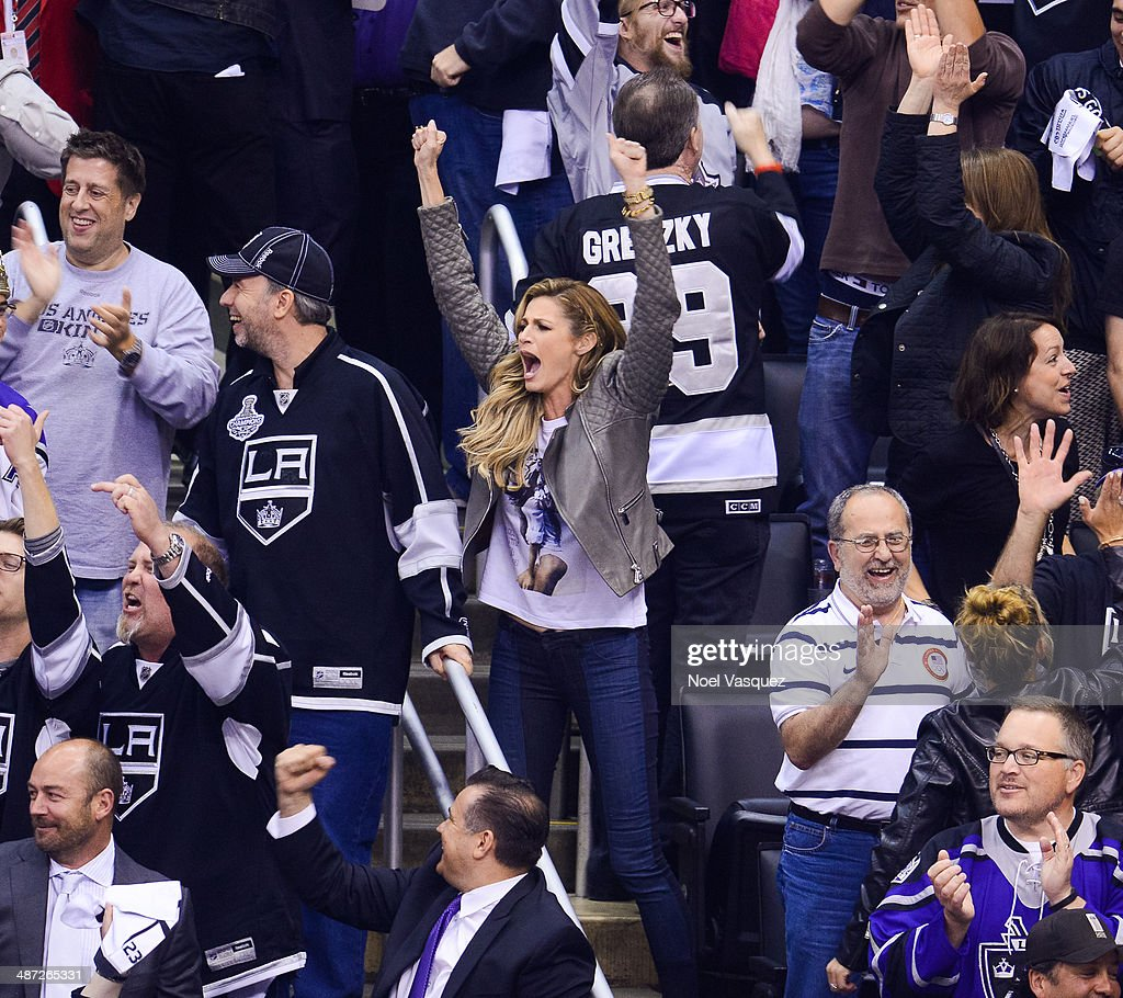 Erin Andrews attends an NHL playoff game between the San Jose Sharks and the Los Angeles Kings at Staples Center on April 28, 2014 in Los Angeles, California.