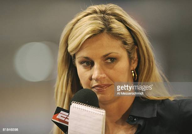 Erin Andrews of ESPN reports from the field as the Tampa Bay Rays host the Boston Red Sox July 2 2008 at Tropicana Field in St Petersburg Florida