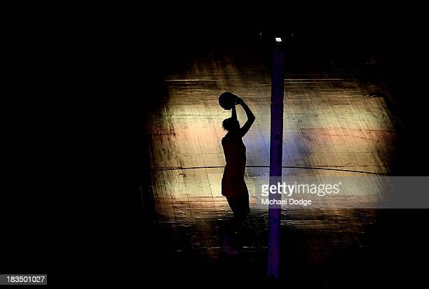 Erin Bell of the Diamonds shoots for goal in the warm up before the Constellation Cup match between the Australian Diamonds and the New Zealand...