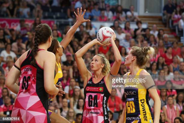 Erin Bell of the Thunderbirds shoots during the round three Super Netball match between the Thunderbirds and the Lightning at Priceline Stadium on...