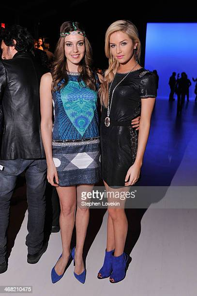 Erin Brady and Cassidy Wolf attend the Meskita fashion show during MercedesBenz Fashion Week Fall 2014 at The Salon at Lincoln Center on February 9...