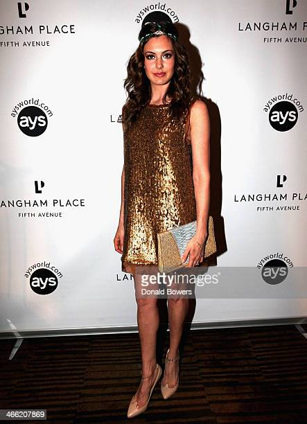 Erin Brady attends Langham Place Fifth Avenue Kicks Off Super Bowl Weekend In New York With 'Party With The Pros' at Measure Lounge at Langham Place...