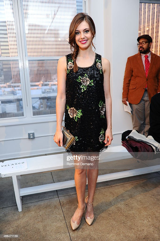 Erin Brady attends the Mischka Velasco presentation during Mercedes-Benz Fashion Week Fall 2014 at Top of the Garden on February 10, 2014 in New York City.