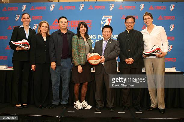 Erin Buescher of the San Antonio Spurs NBA President of Global Marketing Partners and International Business Operations Heidi Ueberroth Director of...