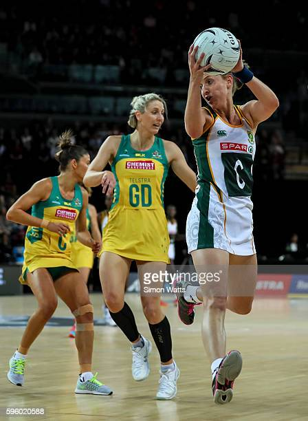Erin Burger of South Africa takes a pass during the International Test Match between Australia and South Africa on August 27 2016 at Vector Arena...