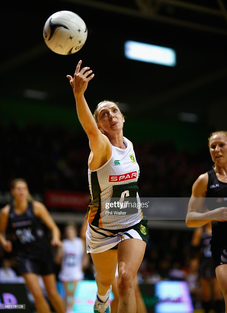 Erin Burger of the Proteas takes a pass during the International Test Match between the New Zealand Silver Ferns and the South Africa Proteas at The...