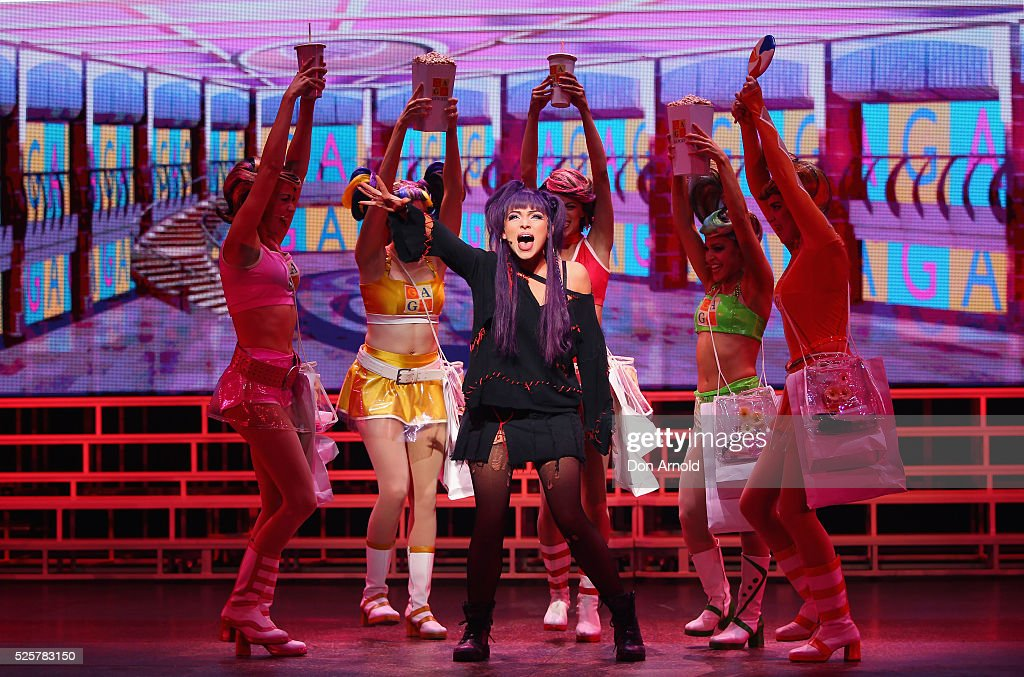 Erin Clare plays the role of Scaramouche during the 'We Will Rock You' media call at Lyric Theatre, Star City on April 29, 2016 in Sydney, Australia.