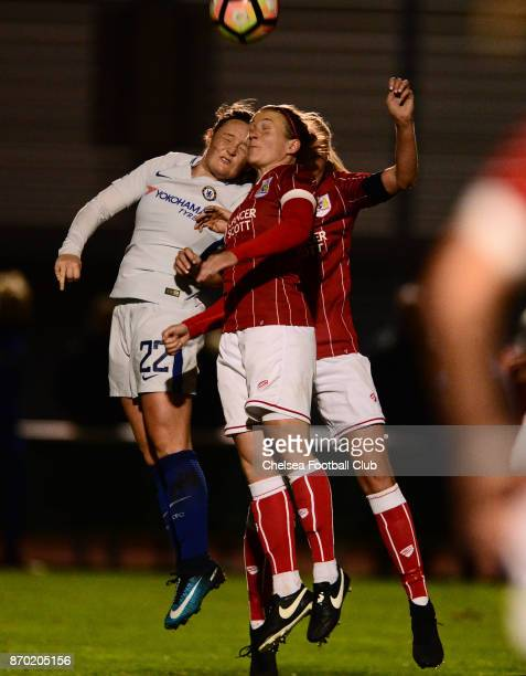 Erin Cutbert of Chelsea challenges for a header during a Continental Tyres Cup match between Bristol City Women and Chelsea Ladies at on November 4...