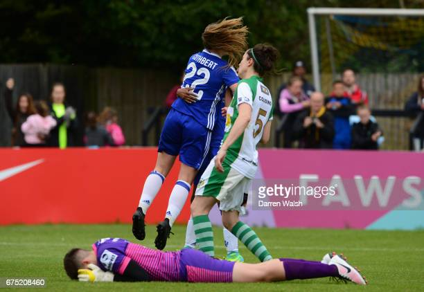 Erin Cuthbert of Chelsea celebrates after scoring to make it 40 during the FA WSL 1 match between Chelsea Ladies and Yeovil Town Ladies at Wheatsheaf...