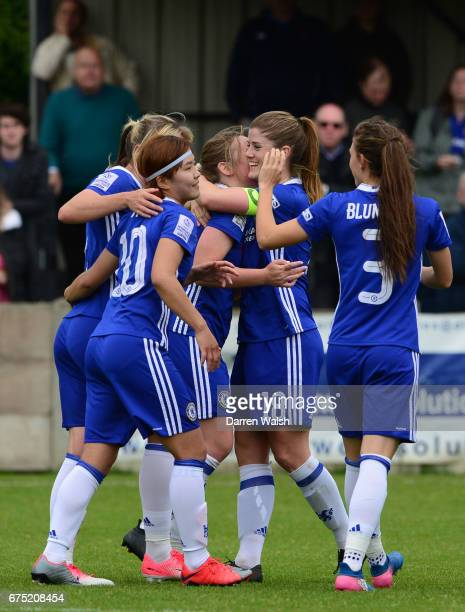 Erin Cuthbert of Chelsea celebrates with her team mates after scoring to make it 40 during the FA WSL 1 match between Chelsea Ladies and Yeovil Town...