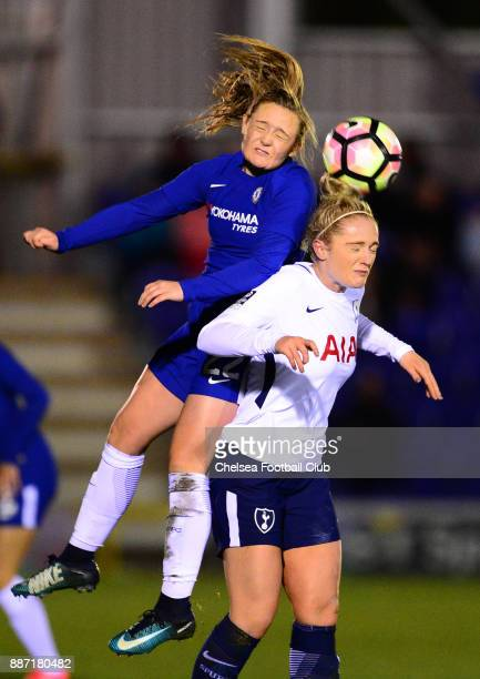 Erin Cuthbert of Chelsea wins a header during a Continental Tyres Cup Match between Chelsea Ladies and Tottenham Ladies at The Cherry Red Records...