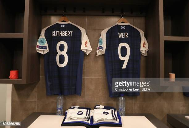 Erin Cuthbert of Scotland and Caroline Weir of Scotland shirts hang in the changing room prior to the Group D match between Scotland and Spain during...