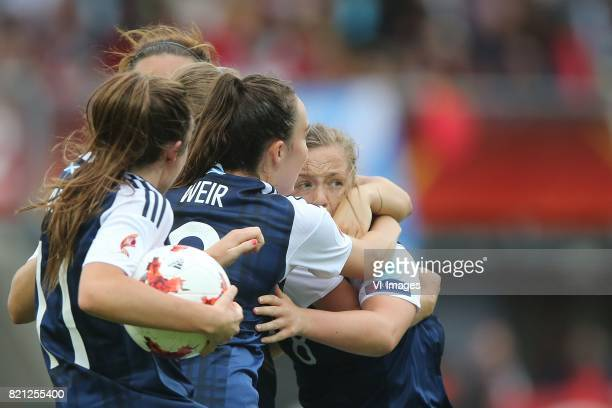 Erin Cuthbert of Scotland women Caroline Weir of Scotland women Lisa Evans of Scotland women during the UEFA WEURO 2017 Group D group stage match...