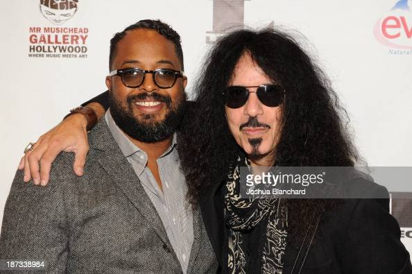 Erin Davis and drummer Frankie Banali arrive at Mr Musichead Gallery for the 'Miles Davis The Collected Artwork' Launch Party on November 7 2013 in...