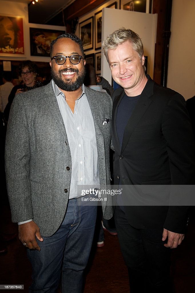 Erin Davis (son of Miles Davis) and Trumpeter Chris Botti attend the 'Miles Davis: The Collected Artwork' Launch Party at Mr. Musichead Gallery on November 7, 2013 in Los Angeles, California.