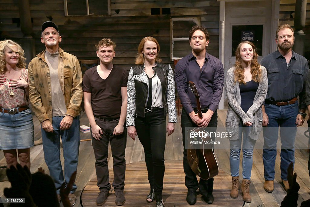 Erin Dilly Bob Stillman Adam Cochran Kate Baldwin Eric William Morris Ephie Aardema and Drew McVety during the Opening Night bows of the OffBroadway...