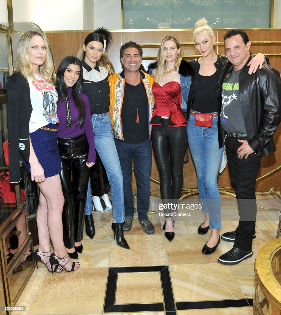 Erin Foster, Kourtney Kardashian, Kendall Jenner, co-founder of What Goes Around Comes Around Gerard Maione, Sara Foster, Karlie Kloss and co-founder of What Goes Around Comes Around Seth Weisser at What Goes Around Comes Around Beverly Hills Anniversary on October 11, 2017 in Beverly Hills, California.